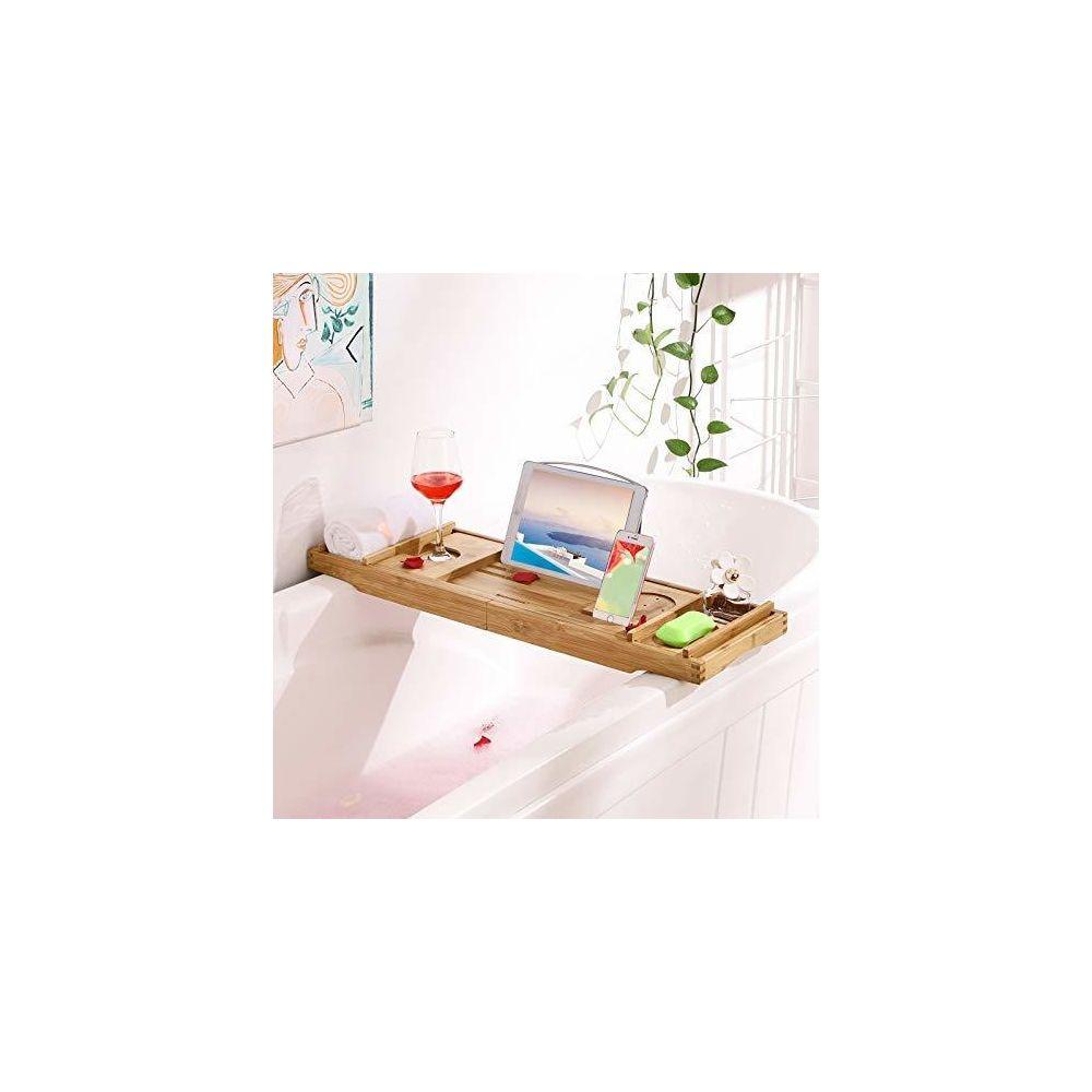 Songmics SONGMICS Pont de baignoire extensible Plateau de baignoire en Bambou Rangement pour la salle de bain Support pour verre,