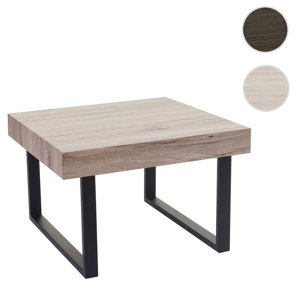 Mendler Table basse de salon Kos-C88, table d'appoint, 42x60x60cm, FSC certifié ~ chêne, pieds métalliques foncés