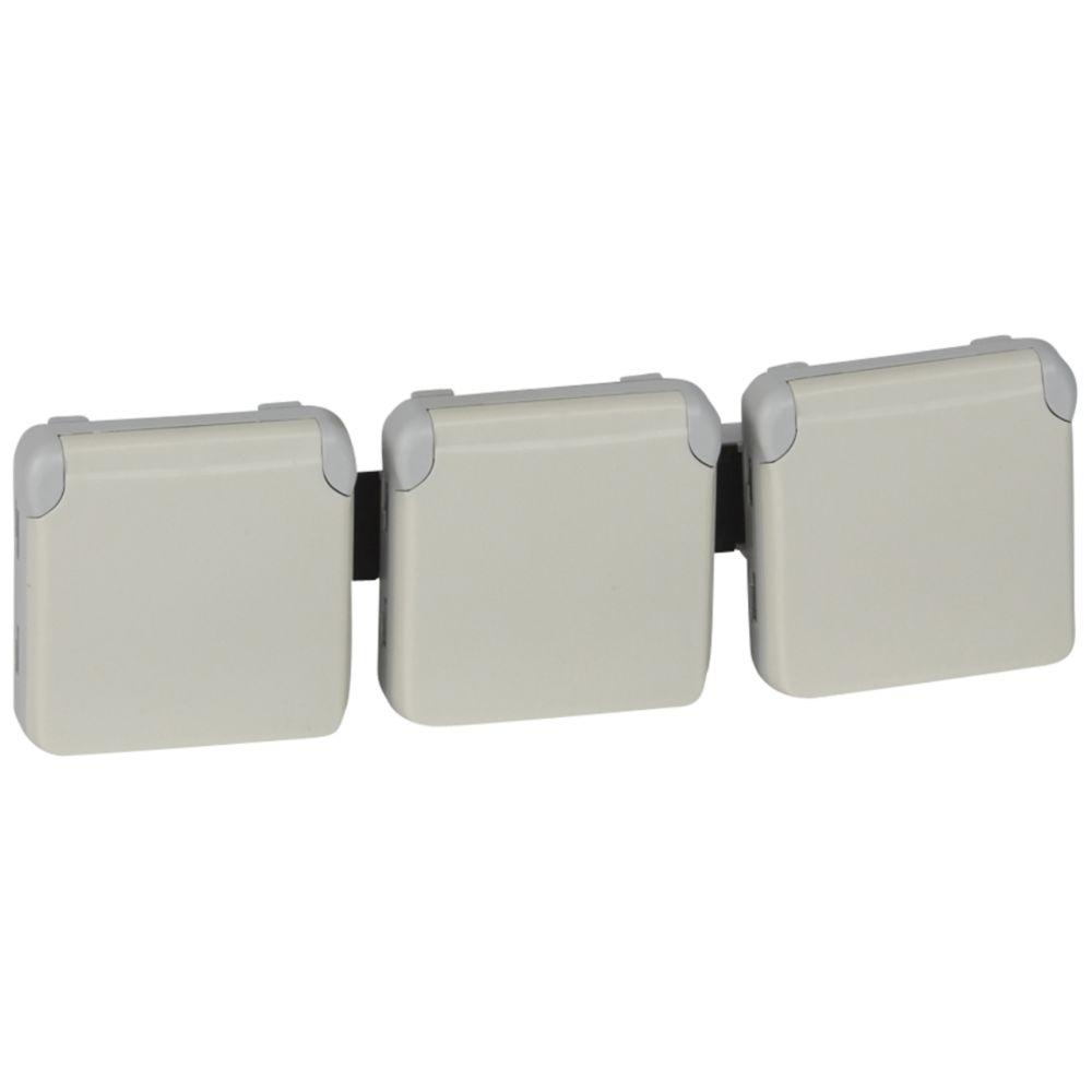Legrand prise de courant 2p+t triple pré-cablée plexo (composable) blanc