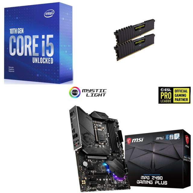 Intel - Core i5-10600KF - 4.1/4.8 GHz + Vengeance LPX 16 Go (2 x 8 Go) - DDR4 3200 MHz Cas 16  + INTEL MPG Z490 GAMING PLUS - ATX - Kit d'évolution Intel