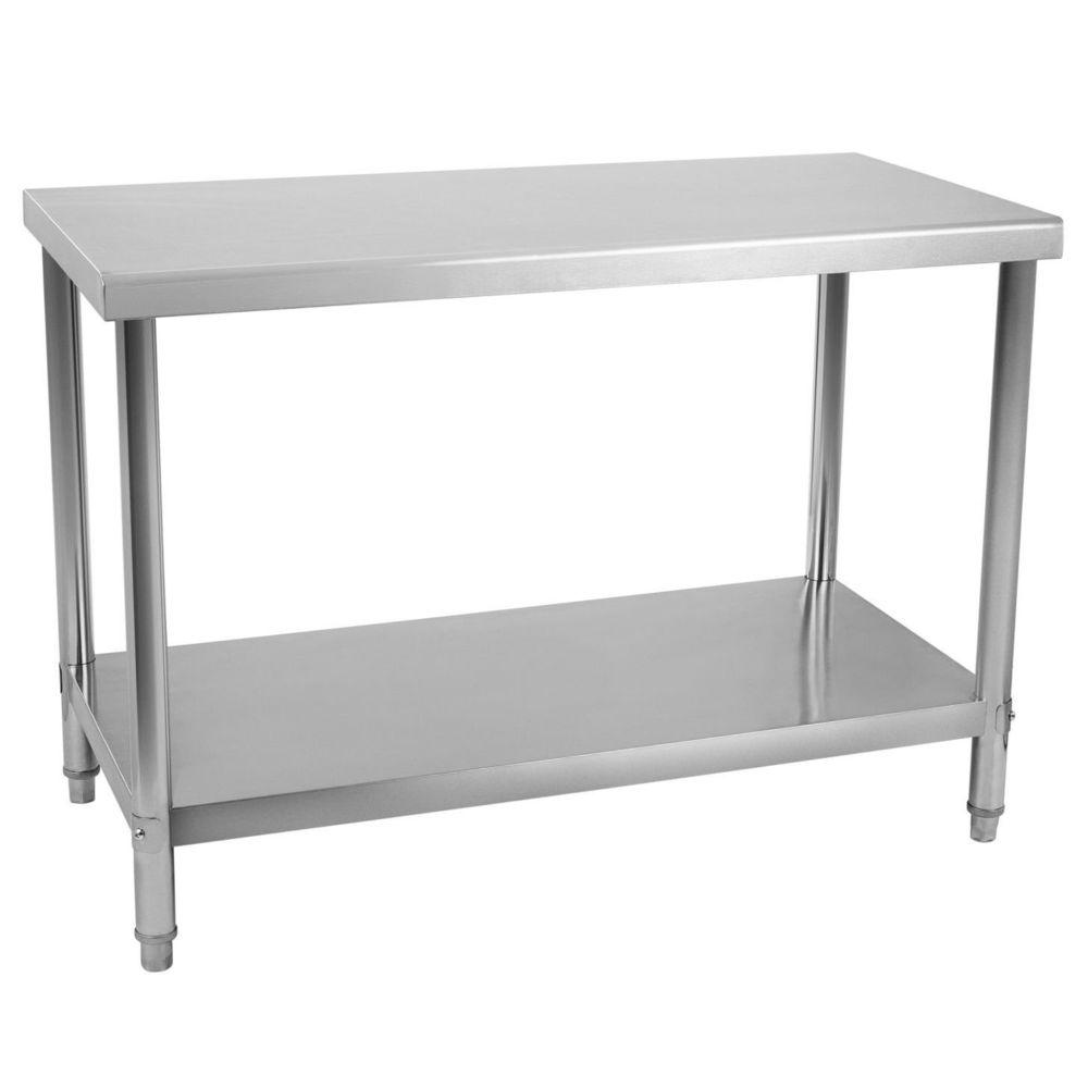 Helloshop26 Table de travail professionnelle acier inox pieds ajustable 120 x 70 cm 3614083