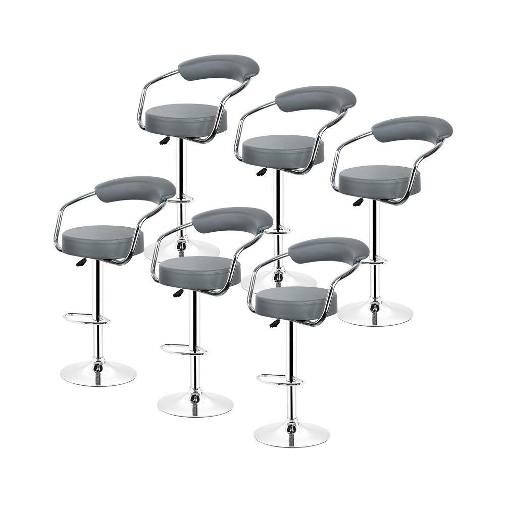 Ltppstore 6X Tabouret de bar réglable en acier inoxydable en hauteur rotation 360 °gris