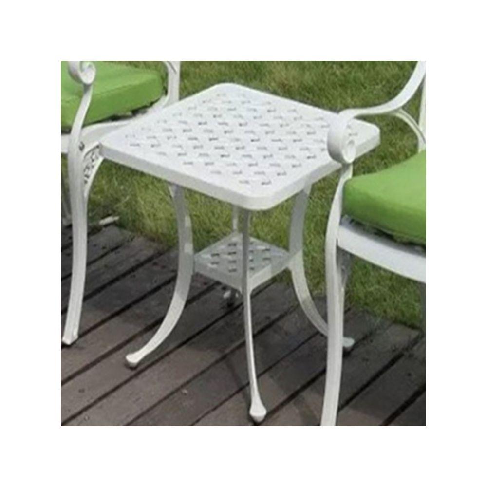Wewoo Petite table ronde extérieure européenne simple en fonte d'aluminium décontractée d'extérieur blanc