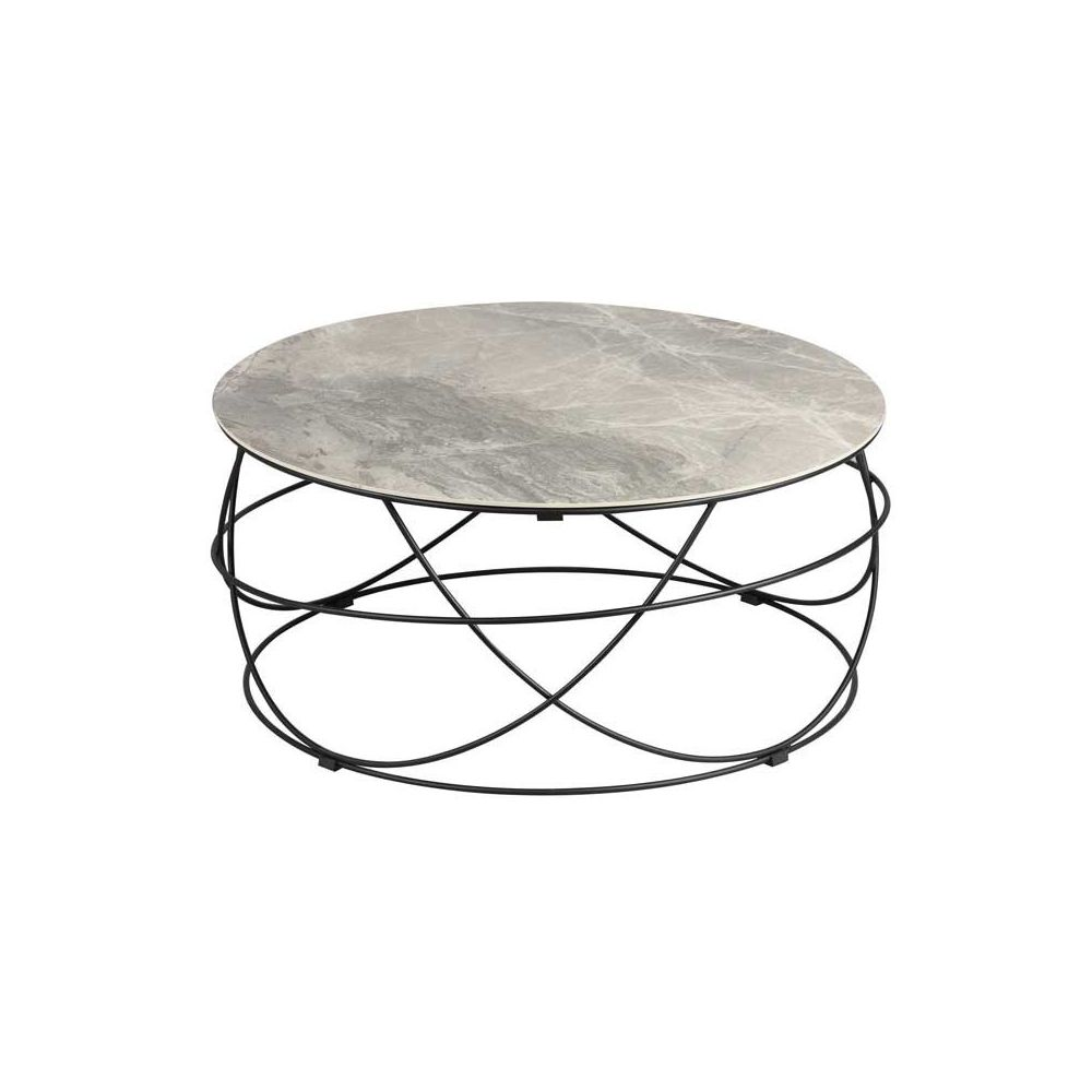 Tousmesmeubles Table basse ronde plateau Céramique gris - DALLAS