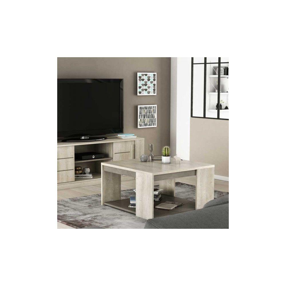 Dansmamaison Table basse carrée double plateaux - LYON - L 80 x l 80 x H 44 cm
