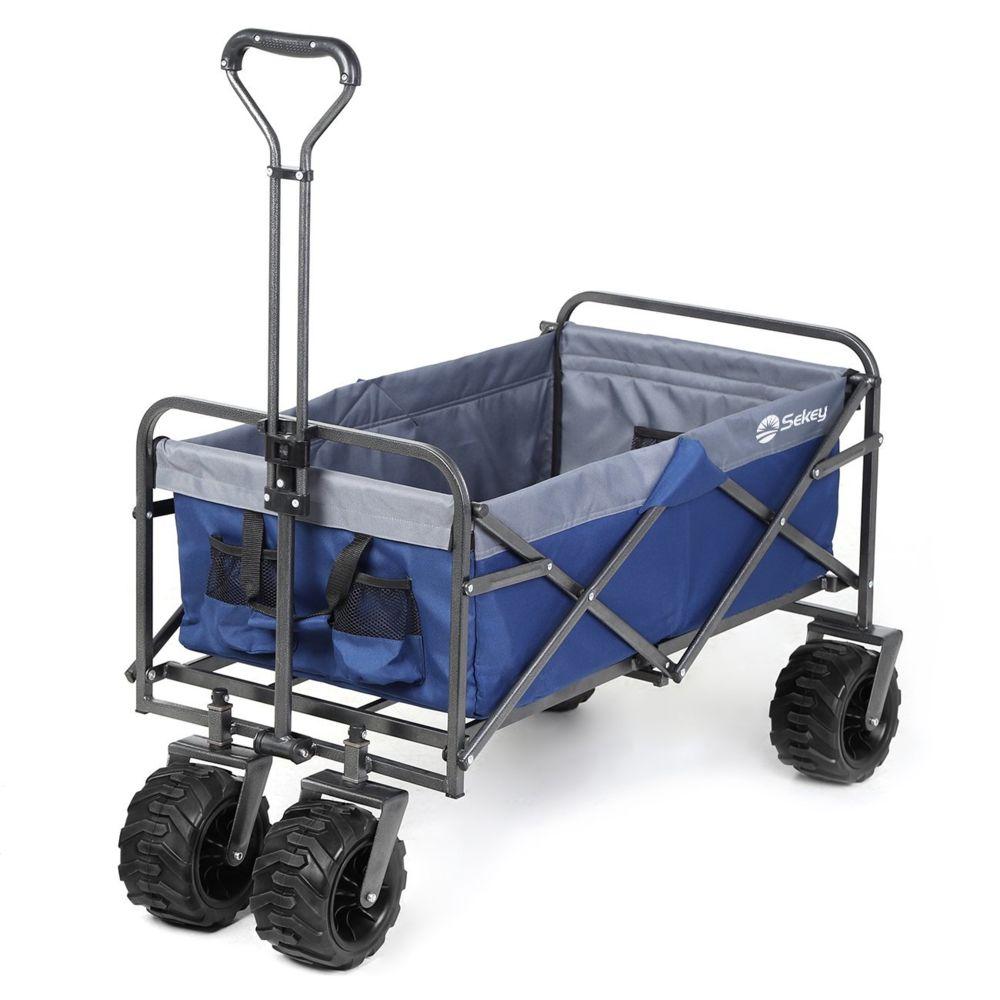 Sekey Charrette de Transport Pliable Chariot de Transport Jardin Chariot de Plage Tout Terrain Brouette extérieure Panier Char