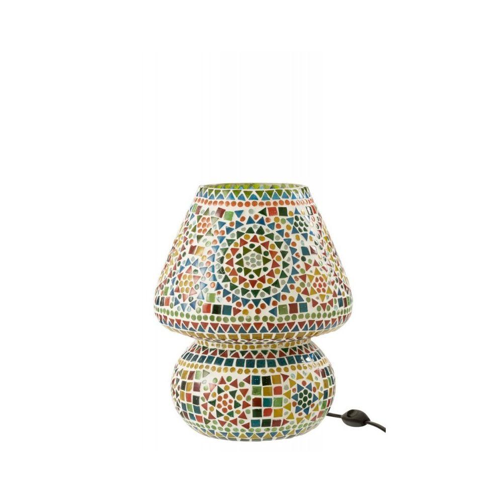 J-Line Lampe De Table Eki Mosaique Verre Mix Large