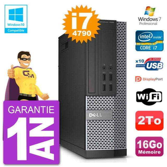 Dell - PC Dell 7020 SFF Intel i7-4790 RAM 16Go Disque 2To Graveur DVD Wifi W7 - PC Fixe Pc tour