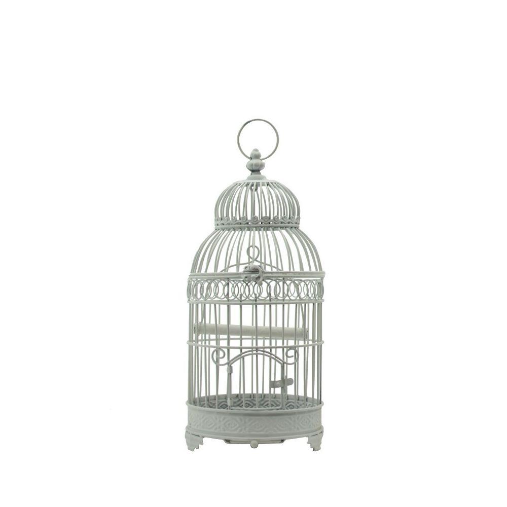 Chemin De Campagne Cage à Oiseaux Carré en Fer de Décoration Ronde Blanc 48 cm x ø21 cm