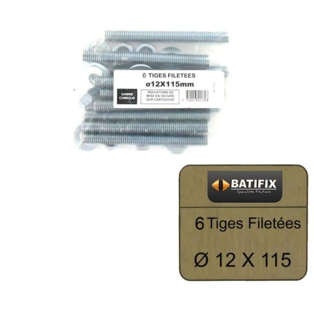 Batifix - Pack de 6 Tiges Filetées M12 BATIFIX diamètre 12 x 115mm - Scellements chimiques