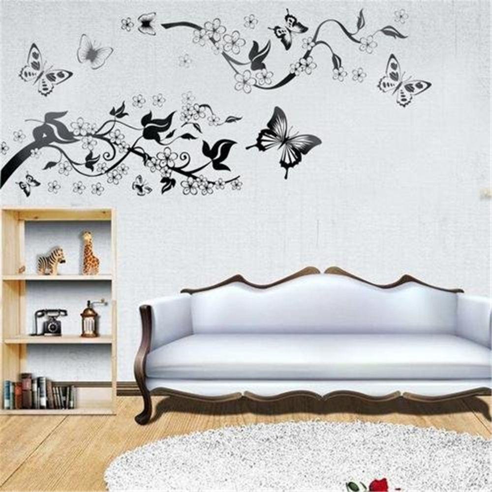 Papillon Fleur Salle De Bain Toilette Sticker Wall Stickers Décoration Mai FE