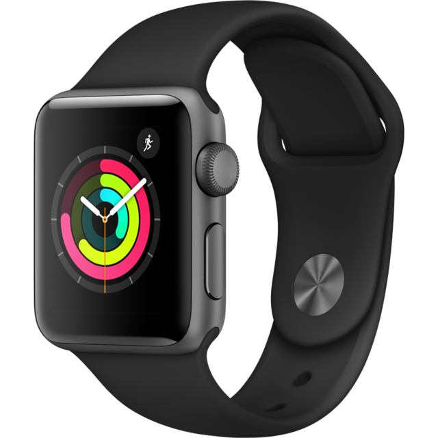 Apple - Watch 3 - 38 - Alu noir / Bracelet Sport noir - Objets connectés reconditionnés