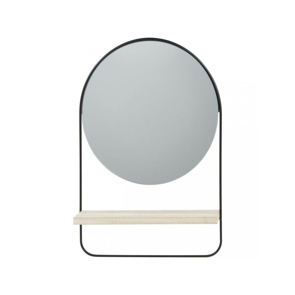 Bobochic BOBOCHIC Miroir rond ENS en métal avec étagère bois