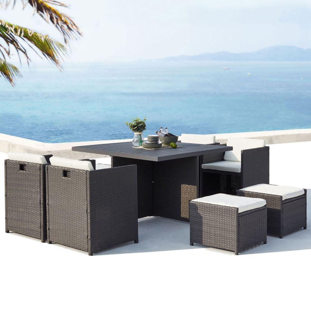 Concept Usine Sunset 8 : salon de jardin encastrable 8 places en résine tressée et aluminium gris/blanc