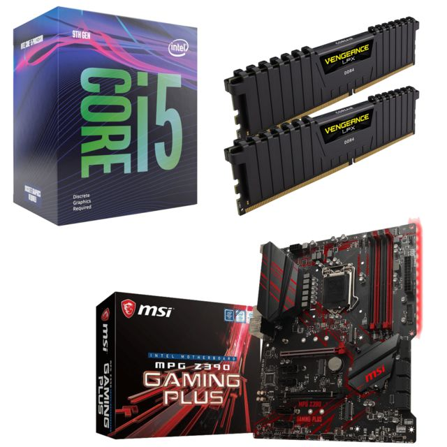 Intel - Core i5-9600KF - 3.7/4.6GHz + Vengeance LPX 16 Go (2 x 8 Go) - DDR4 3200 MHz Cas 16  + Intel Z390 MPG GAMING PLUS - ATX - Kit d'évolution Intel