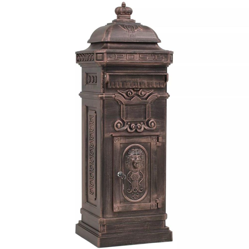 Vidaxl Boîte aux lettres à pilier Aluminium Vintage Bronze antirouille   Brun - Maison et jardin/Décorations/Fentes à lettres  