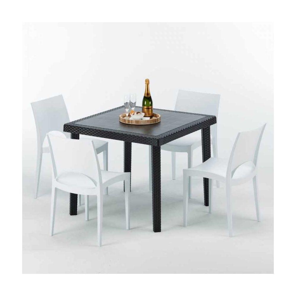 Grand Soleil Table Carrée Noire 90x90cm Avec 4 Chaises Colorées Grand Soleil Set Extérieur Bar Café Paris Passion, Couleur: Blanc