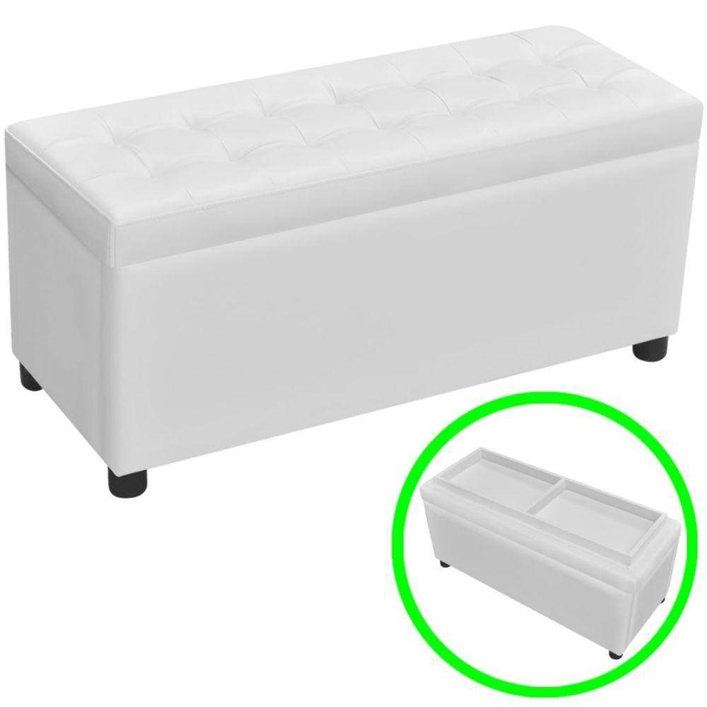 Vidaxl Pouf à rangement en touffetage en cuir synthétique (Blanc) | Blanc