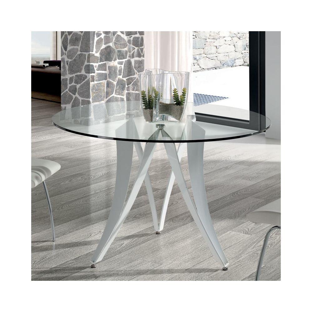 Nouvomeuble Table à manger ronde design en verre et métal blanc MARION