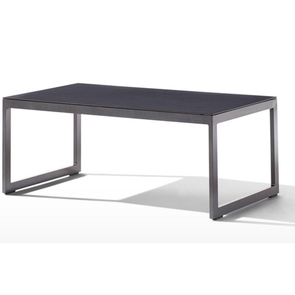Pegane Table de jardin en aluminium gris et verre laqué gris foncé - 110 x 60 x 44 cm -PEGANE-