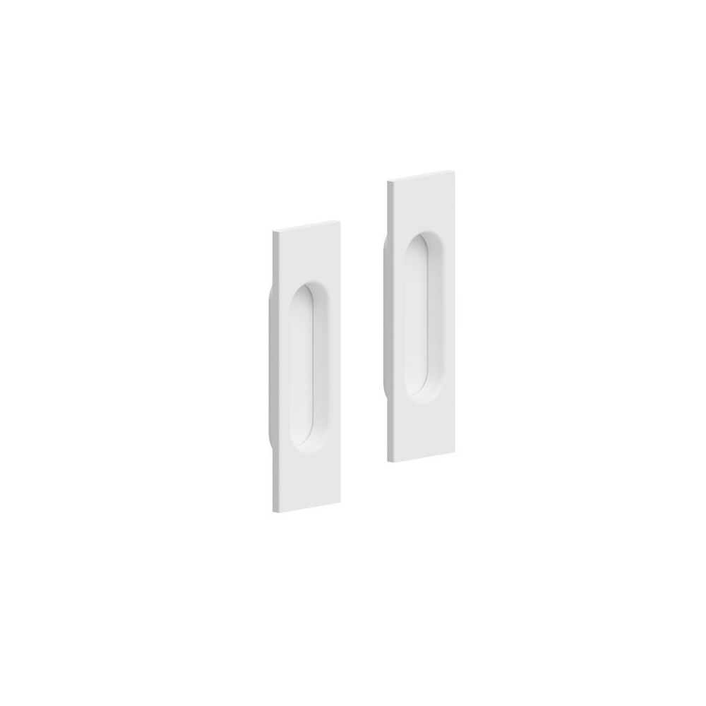 Slid'Up By Mantion Lot de 2 poignées à encastrer rectangulaires, plastique finition acier blanc