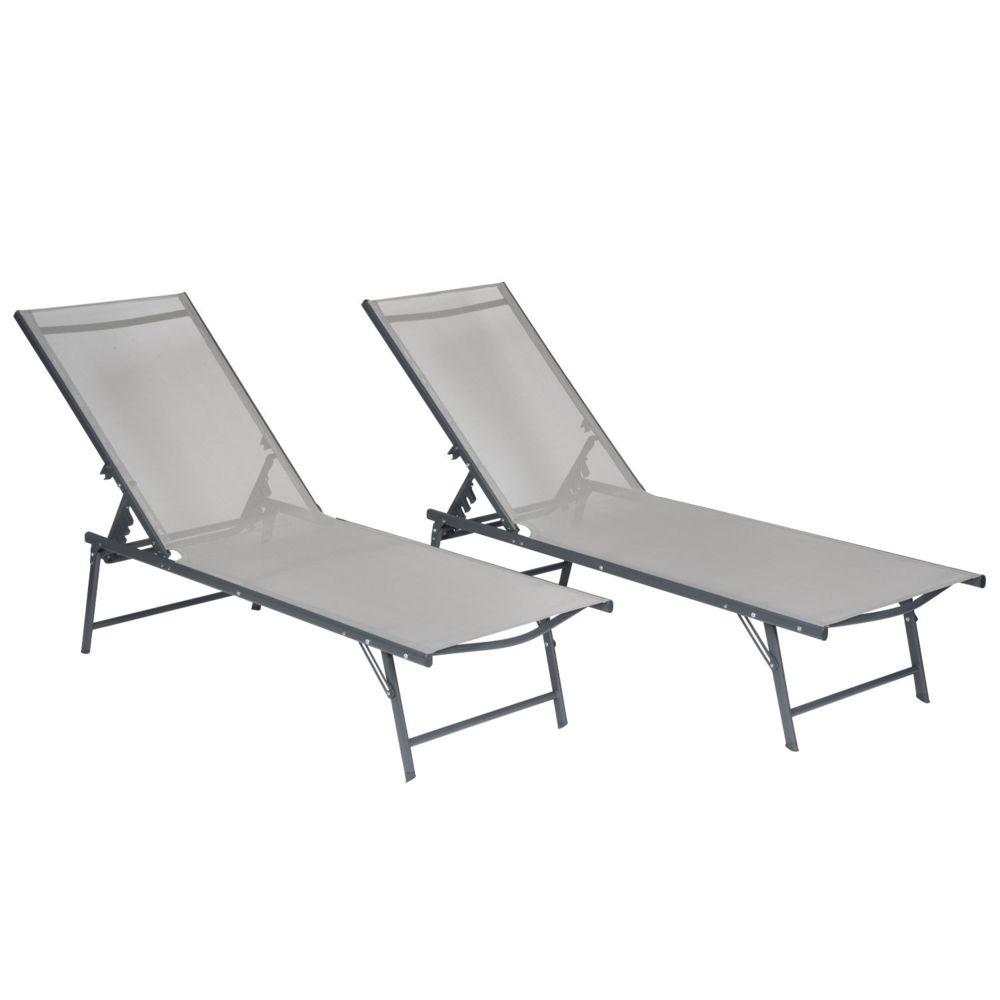 Happy Garden Lot de 2 bains de soleil pliants SICILIA en textilène gris - structure anthracite