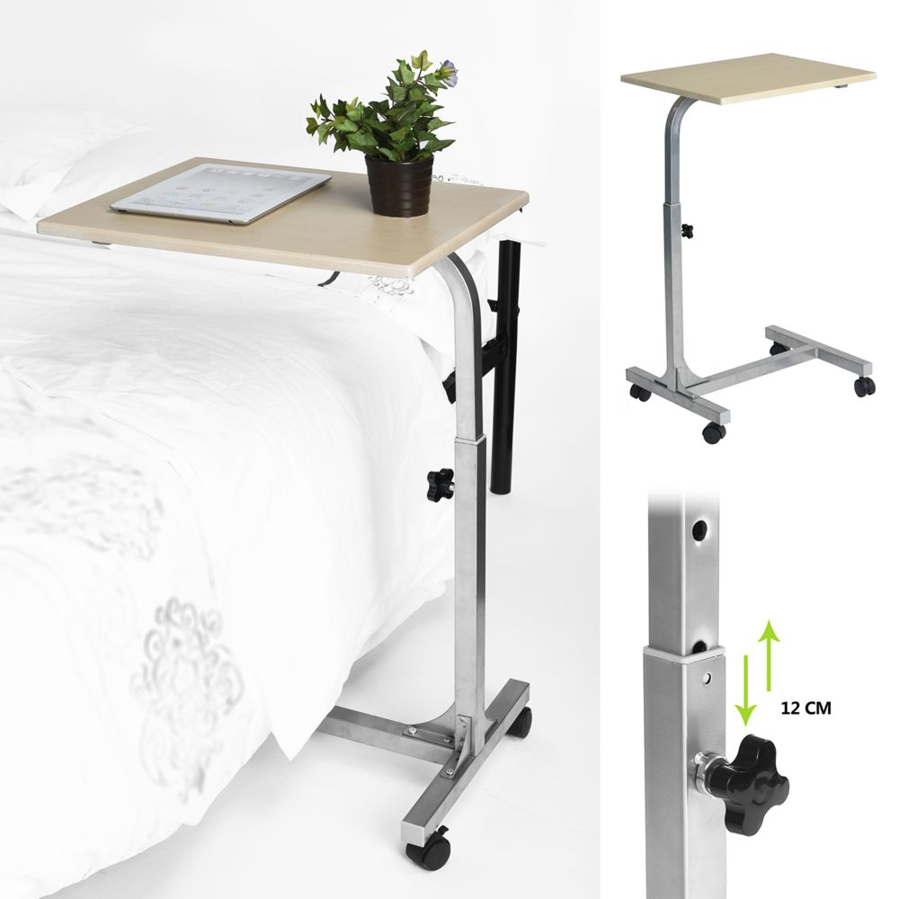 Easy Meuble Table de lit canapé support mobile couleur bois claire Hauteur Réglable roulettes avec roues