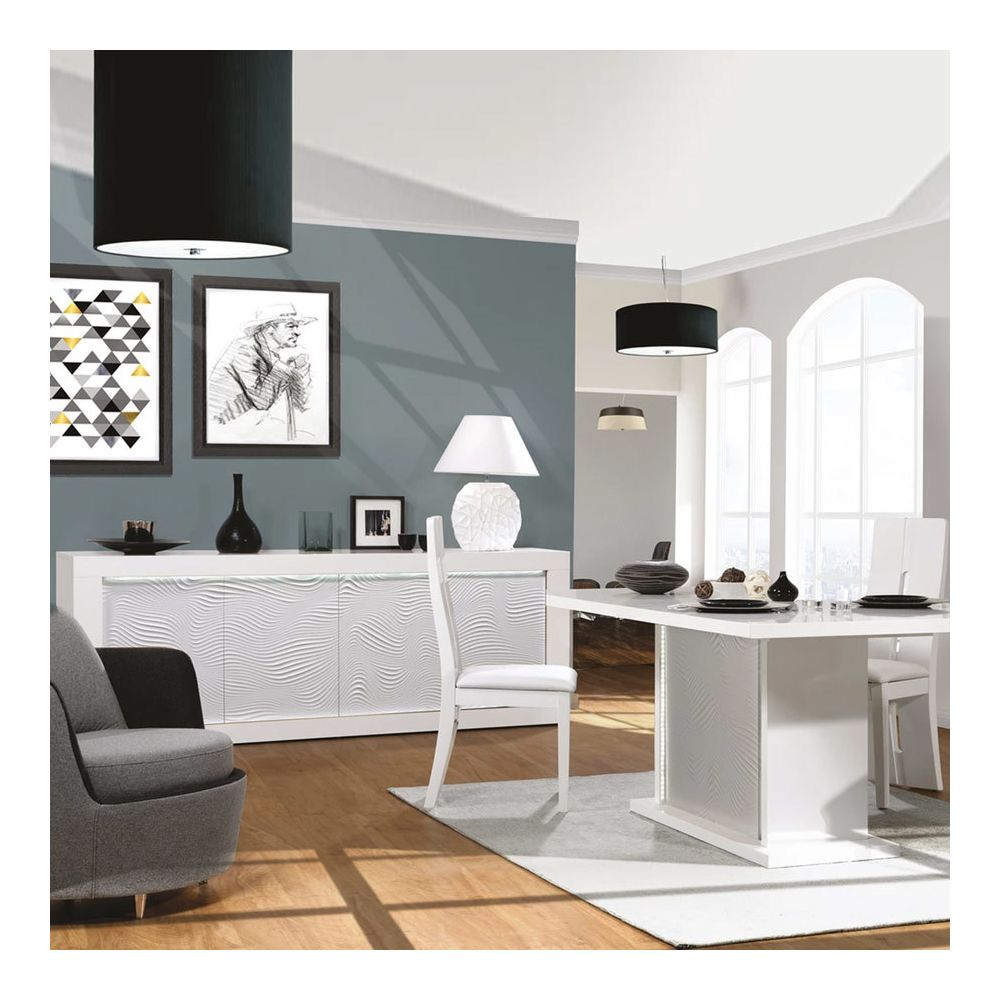 Nouvomeuble Salle à manger blanche laquée design KARL