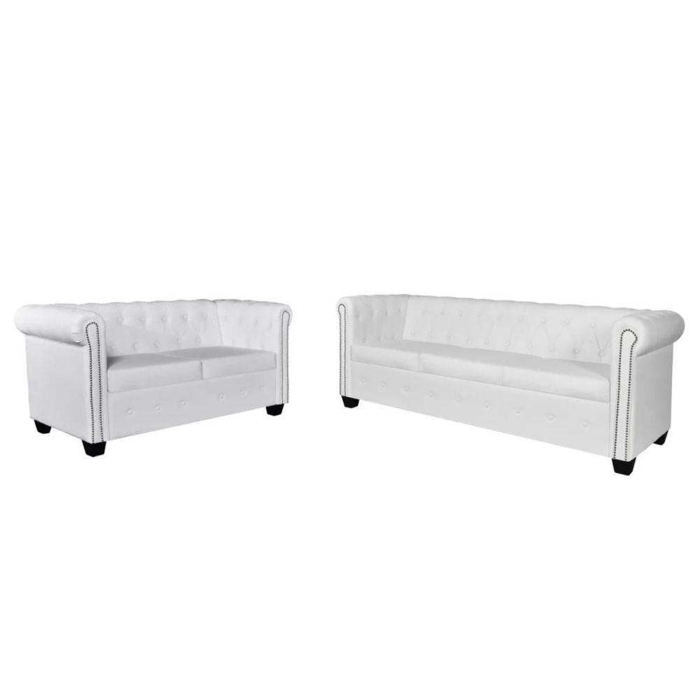 Vidaxl Jeu de canapé à 2 places et à 3 places Cuir synthétique Blanc - 272250 | Blanc