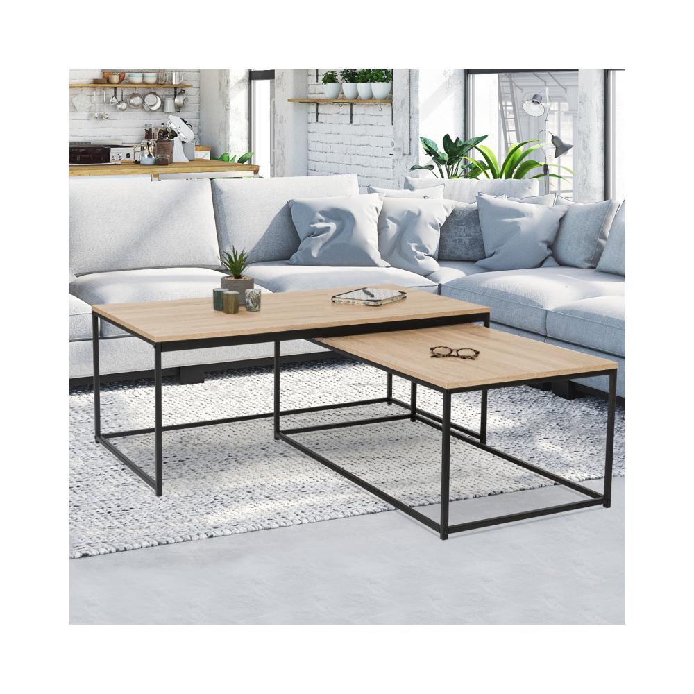 Idmarket Lot de 2 tables basses gigognes DETROIT 100/113 design industriel