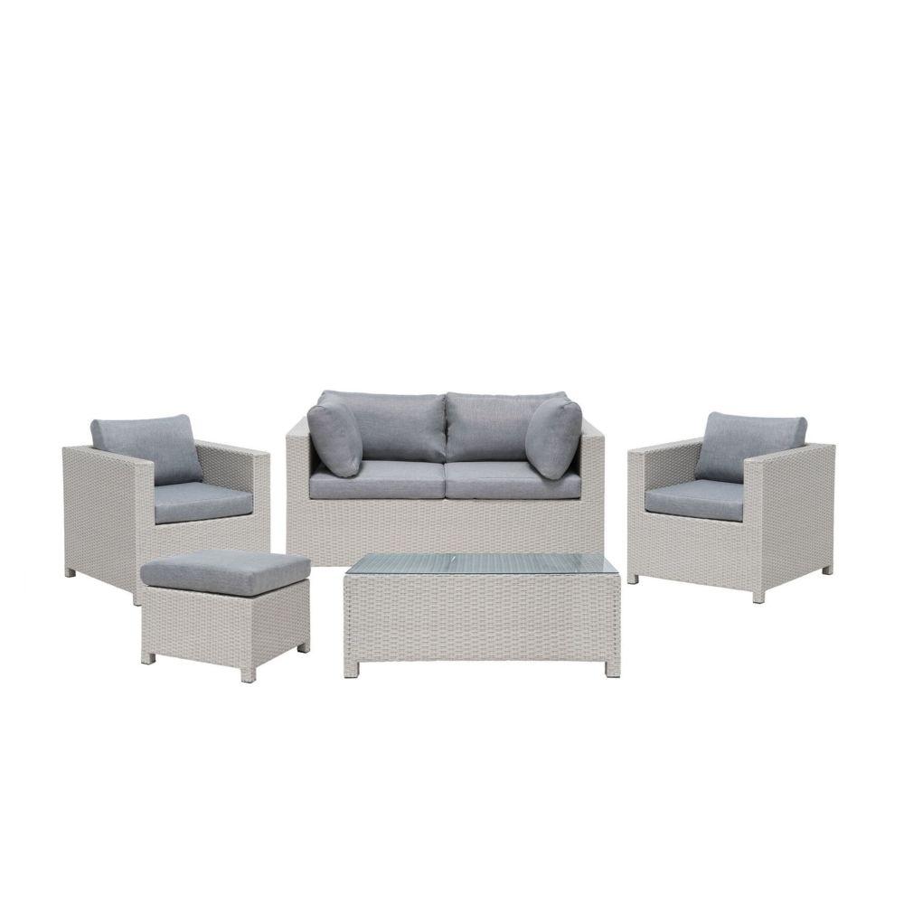 Beliani Beliani Salon de jardin 4 places en rotin gris clair avec coussins gris foncé MILANO - gris