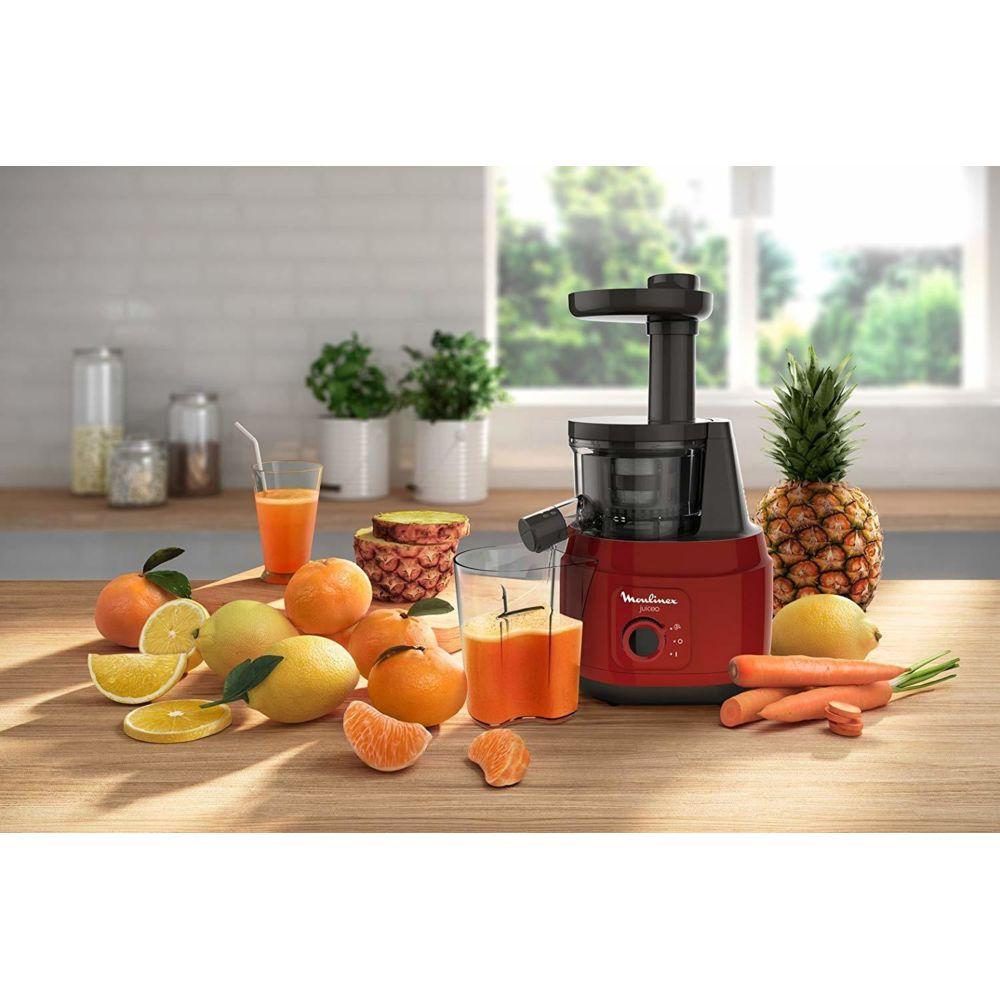 Moulinex extracteur de jus pour Fruits et Légumes 80 tours/minute 150W rouge noir