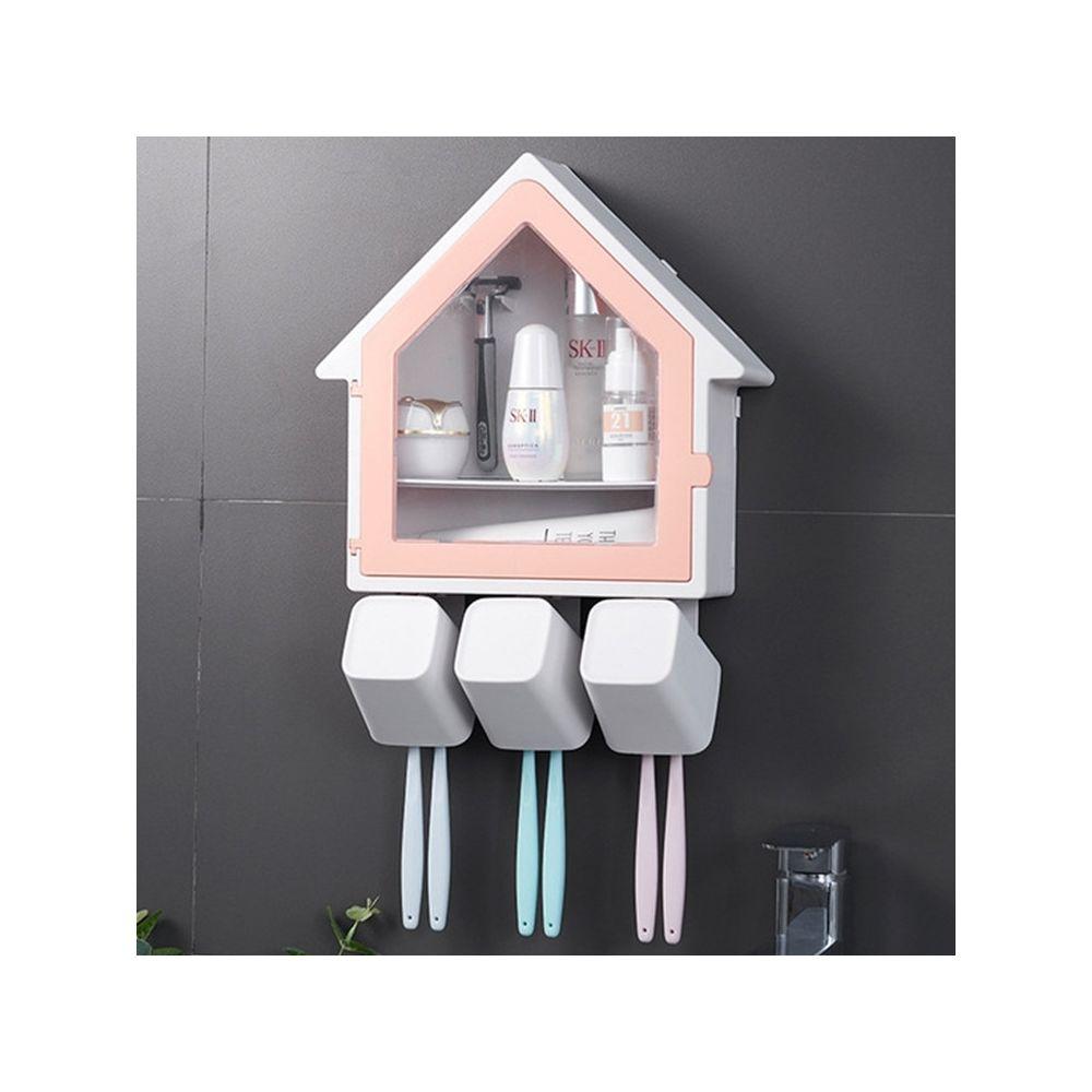Wewoo Tenture murale petite maison porte brosse à dents accessoires de toilette étagère de rangement rose