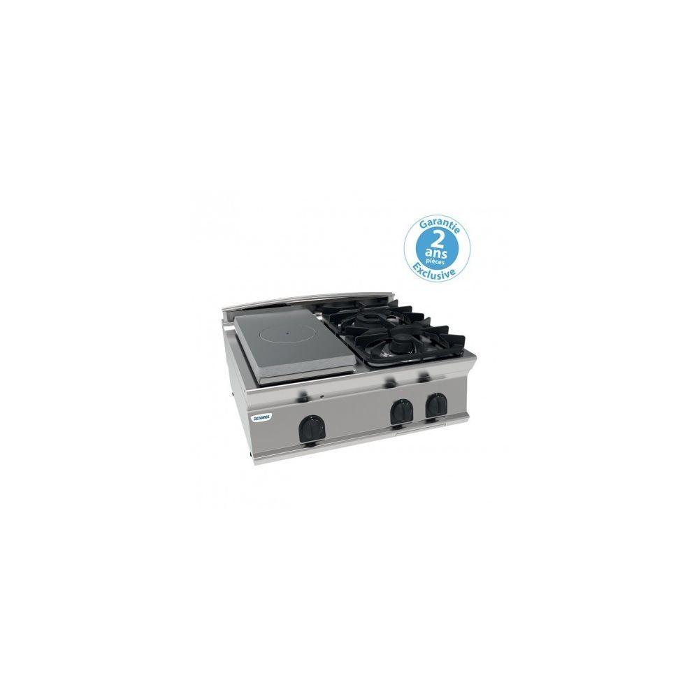 Materiel Chr Pro Plaque coup de feu à poser - top 2 feux vifs gaz et 1/2 plaque coup de feu à poser - gamme 700 - module 400 - Tecnoinox