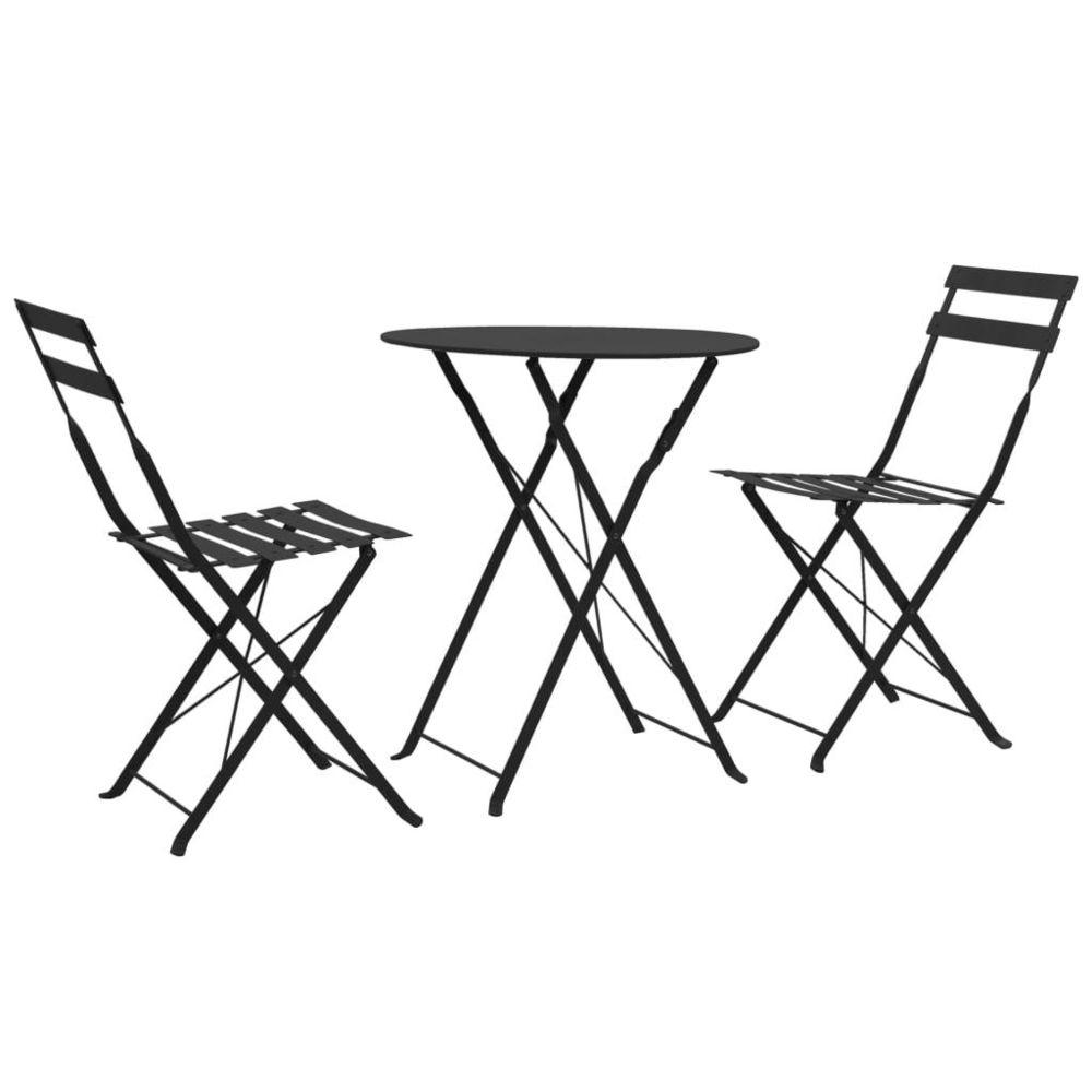 Vidaxl Ensemble de bistro d'extérieur 3 pcs Noir Acier - Meubles/Meubles de jardin/Ensembles de meubles d'extérieur   Noir   No