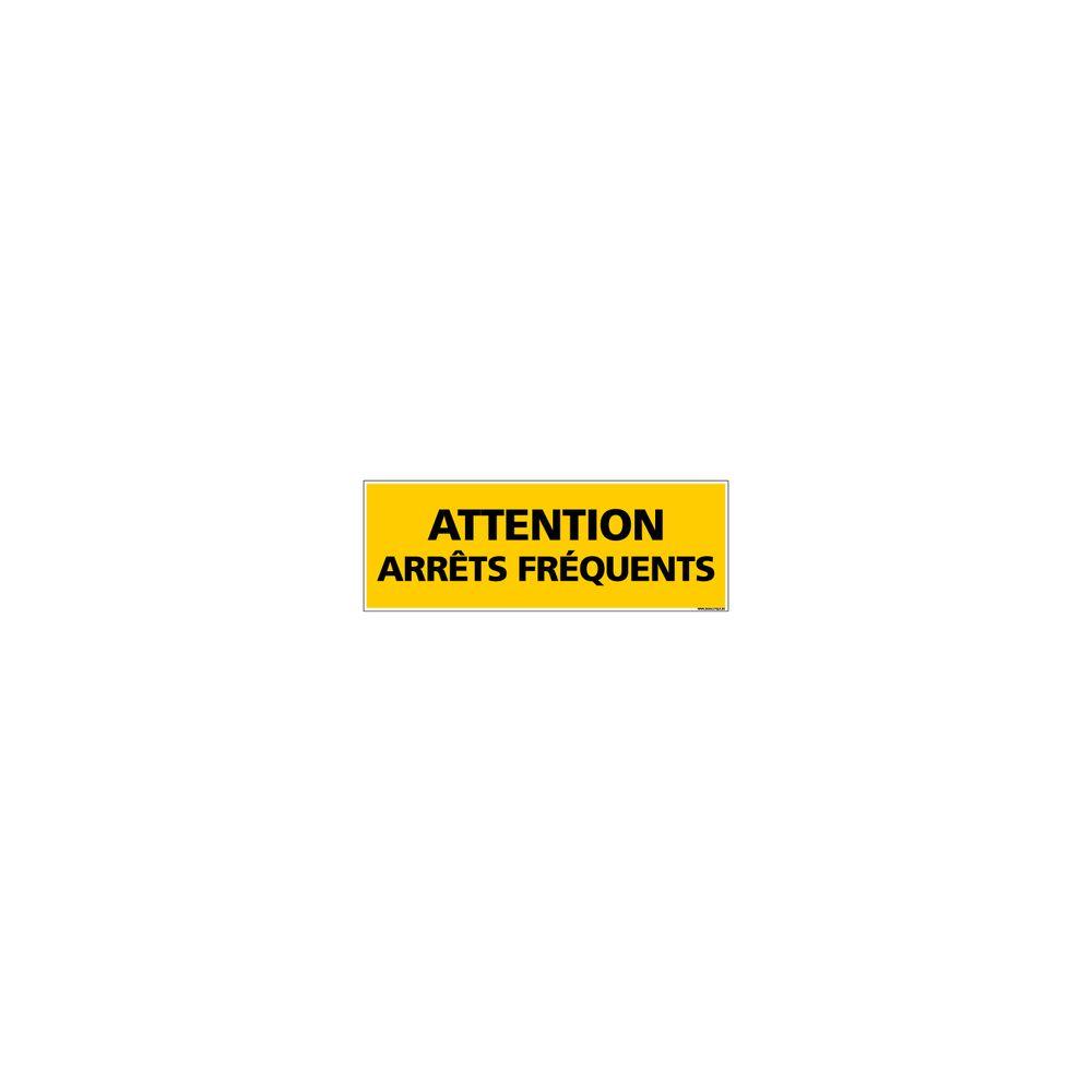 Signaletique Biz Adhésif Rétroréfléchissant Magnétique - Attention Arrêts Fréquents - Dimensions 1000x300 mm - Jaune - Protection Anti-UV