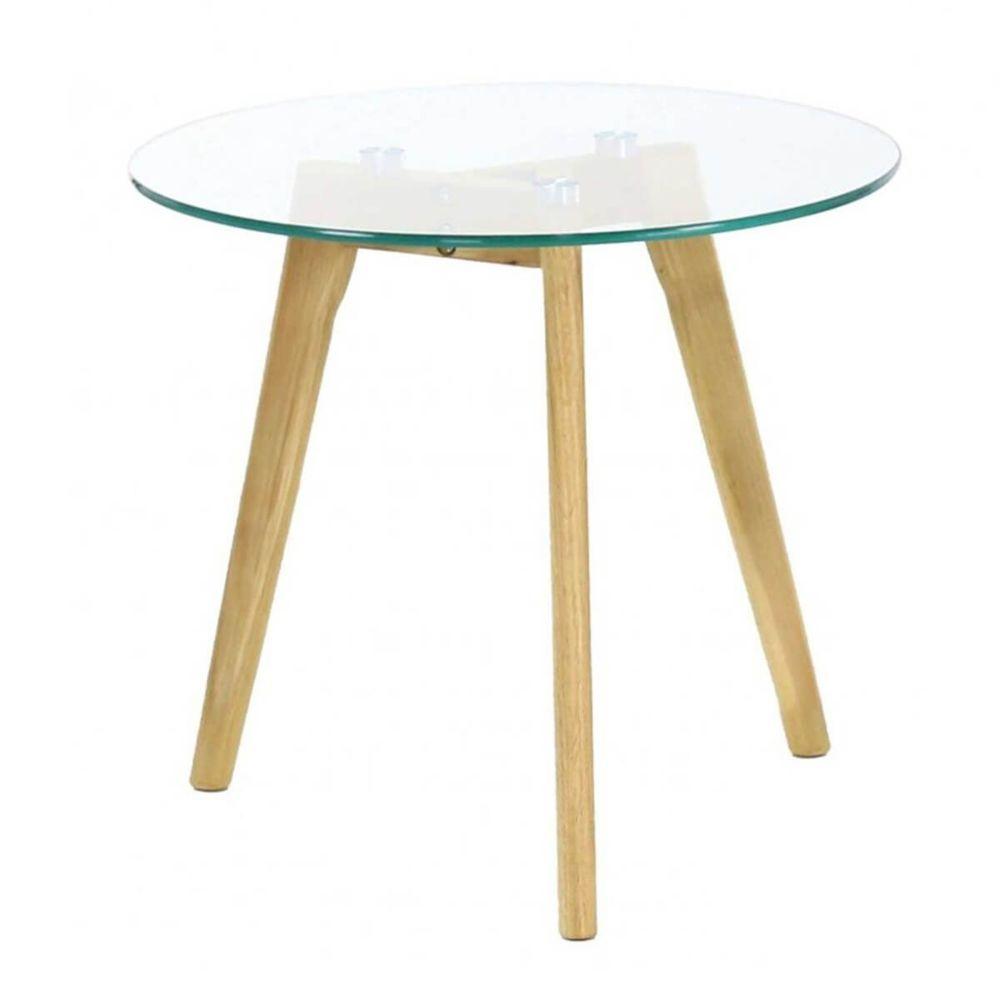 Altobuy Theana - Table Basse Ronde Verre Trempé et Pieds Métal
