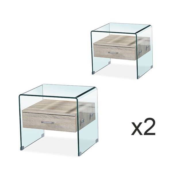 Meubler Design - Lot de deux Table de chevet en verre ELSA - Chevet