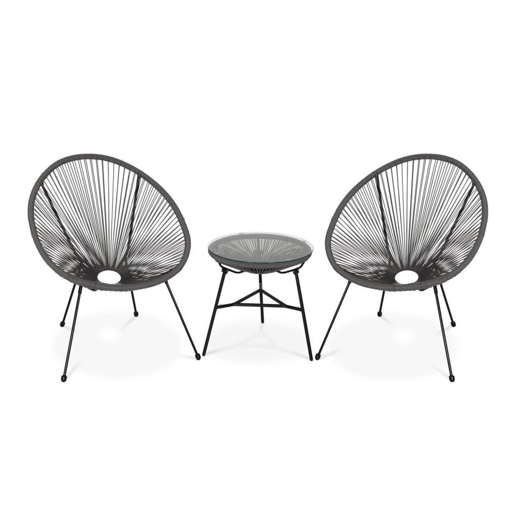 Alice'S Garden Lot de 2 fauteuils ACAPULCO forme d'oeuf avec table d'appoint - Taupe - Fauteuils design rétro