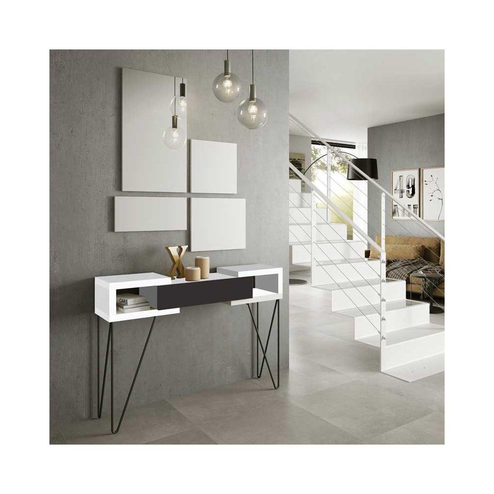 Tousmesmeubles Console + miroir Blanc/Laque marron - SOLDIA