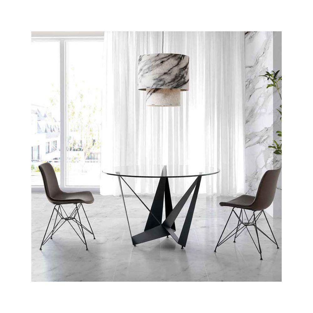 Nouvomeuble Table ronde en verre et métal noir design EROS