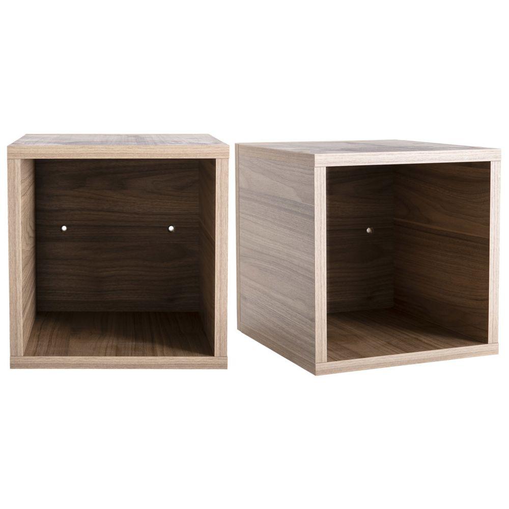 Miliboo Eléments muraux carrés finition bois clair (lot de 2) ETERNEL