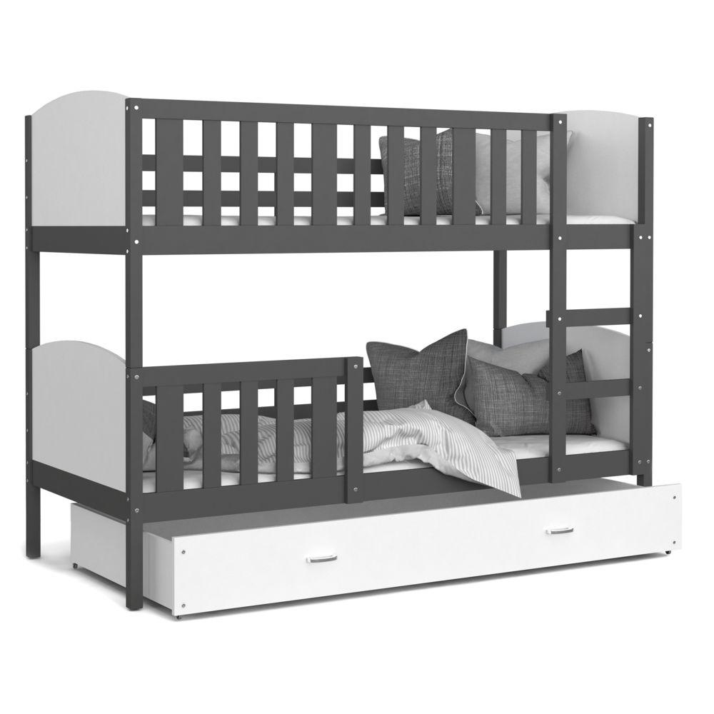 Kids Literie Lit superpose Tomy 90x190 gris blanc livré avec tiroir,2 sommiers et 2 matelas en mousse de 7cm offerts