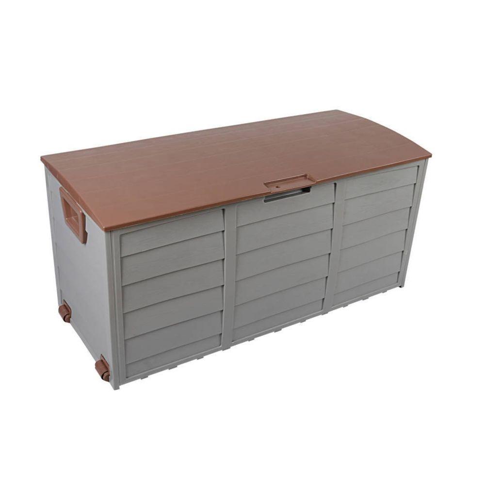 Mobili Rebecca Box Récipient Jardin Marron 290 Lt Plastique 2 Roues 52x112x49