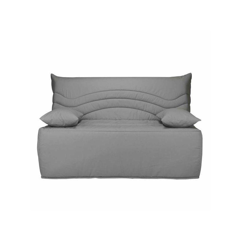 Les Essentiels By Dlm Banquette BZ housse en coton avec matelas Sofaconfort 12cm CARLOTA - Gris - 140x200cm