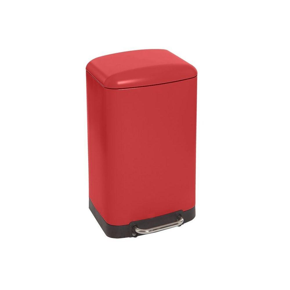JJA Poubelle carrée en métal 30L rouge