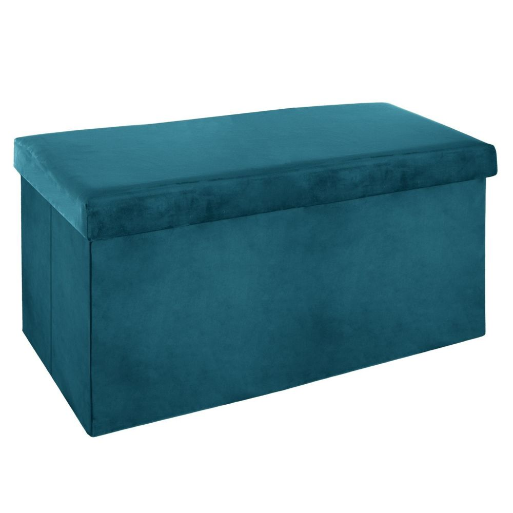 Atmosphera, Createur D'Interie Banquette coffre pliable velours Tess - L. 76 x H. 38 cm - Bleu canard