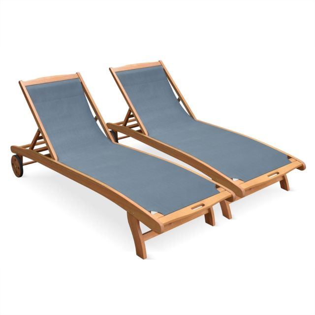ensemble de 2 bains de soleil en bois marbella transats en eucalyptus fsc