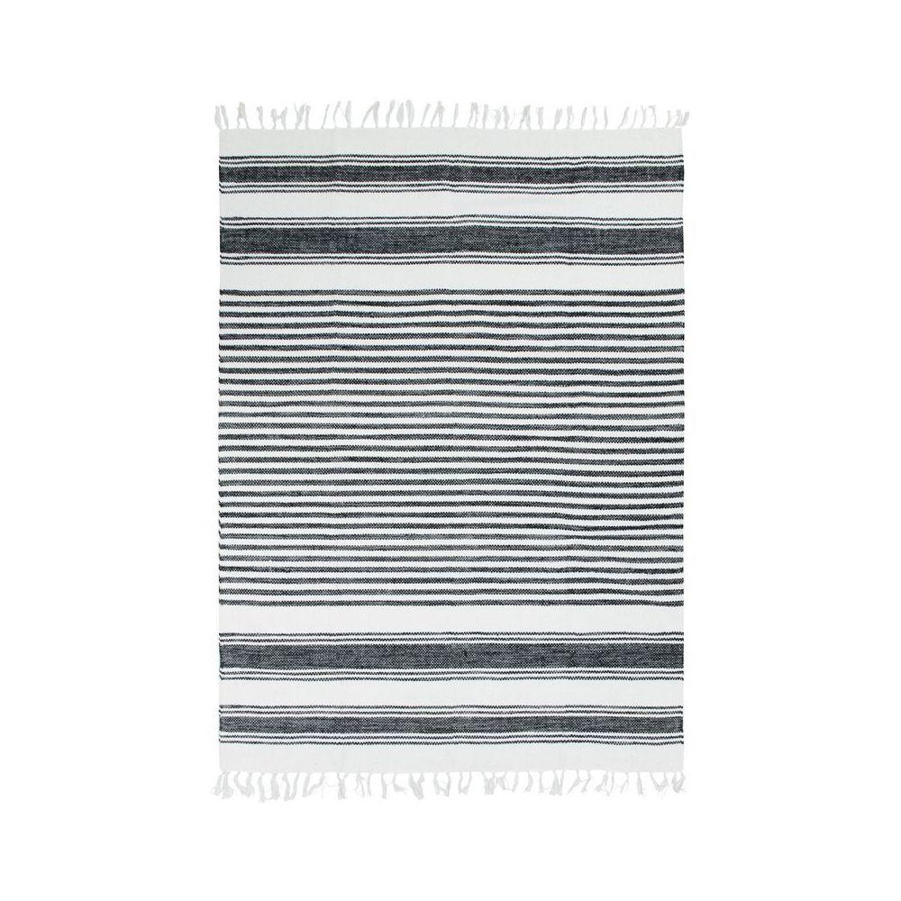 Mon Beau Tapis TERRA COTTON LIGNES - Tapis 100% coton lignes noir-gris-blanc 160x230