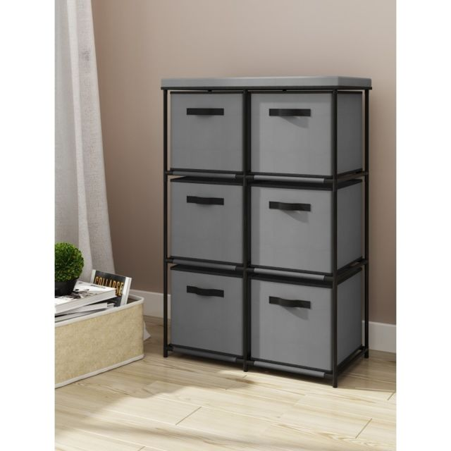 Agd - Mobilier confortable 6 tiroirs gris - Commode
